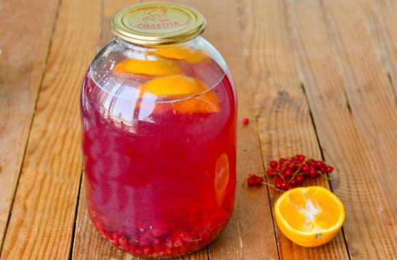 компот на зиму из красной смородины и апельсина