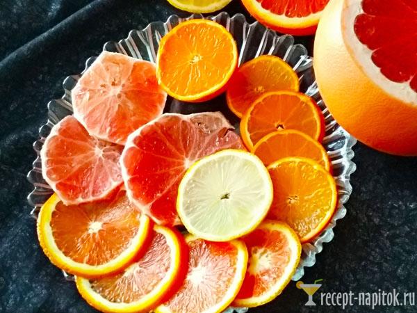 нарезанные цитрусовые фрукты
