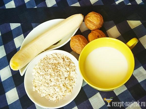 ингредиенты для смузи с овсянкой и бананом